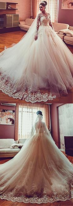 Glamorous Tulle Jewel Neckline Ball Gown Wedding Dress With Beaded Lace Appliques