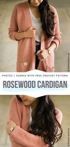 Crochet Simple, Modern Crochet, Vintage Crochet, Crochet Gratis, Free Crochet, Knit Crochet, Crochet Sweaters, Crochet Tops, Crochet Cardigan Pattern
