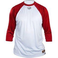 Louisville Slugger Adult Slugger Loose Fit 3/4-Sleeve Shirt, White/Red, Size: Medium