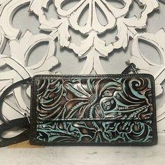 Patricia Nash Azario Crossbody Wallet Turquoise Tooled Leather | eBay Tooled Leather, Leather Tooling, Leather Wallet, Brown Leather, Patricia Nash, Crossbody Wallet, Brass Hardware, Italian Leather, Antique Brass