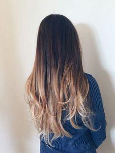 ombre long straight hair style | dark root | brown | brunette | honey caramel | highlights