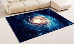 Blue rug blue graphic design floor rugs outer space carpet personalized housewarming gift blue room decor galaxy print area rugs