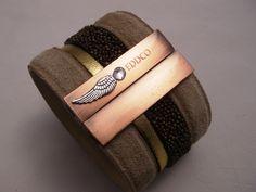 manchette cuir K sable cuivré  - bracelet manchette - cuir-eddco.com - Fait Maison