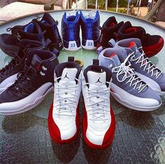 Cherry 12's / Playoff 12's / Nubuck 12's / Obsidian 12's / Flu Game 12's / Cool Grey 12's