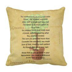 Shop Retired Nurse Poem Pillow by Gail Gabel, RN created by NursesLounge. Nurse Retirement Gifts, Retirement Parties, Nurse Gifts, Diy Pillows, Decorative Throw Pillows, Pillow Ideas, Nurse Poems, Gabel, Daily Reminder