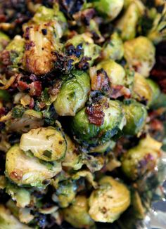 Caramelized Brussels Sprouts with Bacon for a Christmas Dinner Potluck // The Perch, a Polka Dot Peacock blog