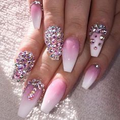 Pink and White Ombre Nailz with Bling
