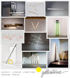 collage of latest linear lighting design trends