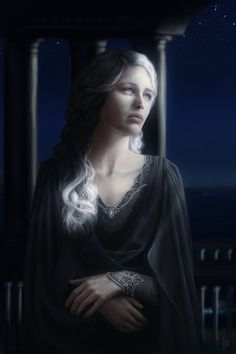 This is such a nice painting, so beautiful with her under the moonlight and also very sad.   Nienna, The Mourning Vala. by ~moon-blossom on deviantART