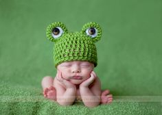 Mr. Frogger Newborn Beanie. $25.00, via Etsy.