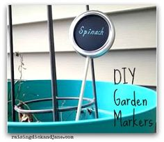 DIY Garden Markers. You will need: canning jar lids (good use for used ones); small wooden dowels; chalkboard paint; paint pen; screwdriver and bit.