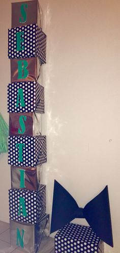Box letters I did for my baby shower #gentleman #bowtie #mint #themed…