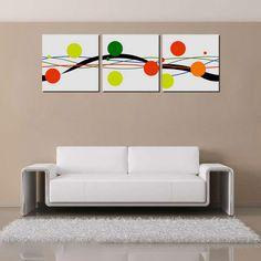 Bizhen Frame-free Abstract Flower Painting Canvas Wall Decor Murals 3 Panels (59.06