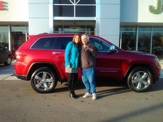 Here is Pam Thompson with sales consultant Deana Jones and her new 2014 Jeep Grand Cherokee.  Pam, now you are ready for both the town AND the trails!  Jeep makes the Grand Cherokee and Zimmer makes the difference!  www.zimmermotors.com
