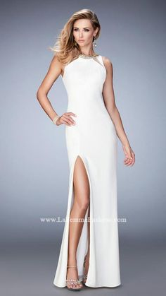 00493039efe220 La Femme 22174 Elegant jersey gown with neckline cutouts and side slit. The  neckline is embellished with crystals.