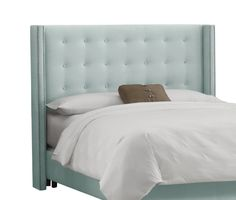 AmazonSmile - Skyline Furniture Nail Button Tufted Wingback Queen Headboard in Velvet Pool -