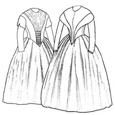 Truly Victorian 1845 German Day Dresses. This pattern is for a variety of 1845 dresses. It is drafted using a German tailor's guide written circa 1843. This style is suitable for the years 1840-1853, and should be worn over several petticoats rather than a hoop. View A has a gathered Fan Front bodice, with a fitted lining and a smooth back. View B has a fitted front with reveres, narrow at the waist and widening out to the shoulders. The bodice can also be left plain if desired.