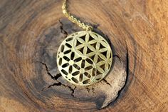 Flower Of Life Yin Yang Gold Necklace Sacred by TzufitMoshel