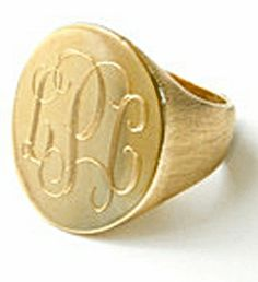 Boyfriend Monogrammed Signet Ring - GOLD OR SILVER
