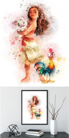 Princess Moana Art Print, Printable, Watercolor Disney Princess moana birthday moana party moana silhouette, Moana Princess Wall Art