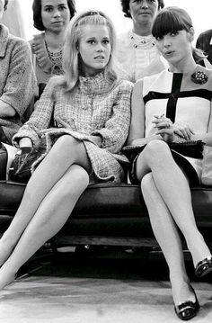 Jane Fonda and Elsa Martinelli at YSL show in Paris 1965