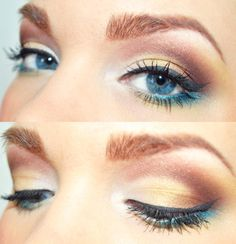 Goldish-brown eye make-up with a hint of teal