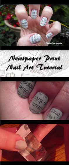 Creatively Clever Nail Art Hacks - Newspaper Print Nail Art Tutorial - Easy DIY Ideas, Tips, And Tutorials For Nail Art Hacks. Every Girl Needs To Try These Awesome Ideas For Glitter, That Go Great With Makeup That Is Simple And It Works. These Hacks Are Step By Step And Easy And Clever - http://thegoddess.com/nail-art-hacks