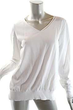 9c7744778 Rayon Blend Knit V Neck Poly Crepe Rear White Sweater. Free shipping and  guaranteed authenticity