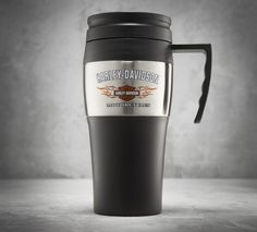 Jumpstart your day. | Harley-Davidson Bar & Shield Logo with Flames Travel Mug
