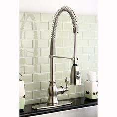 American Clic Modern Satin Nickel Spiral Pull Down Kitchen Faucet Ping