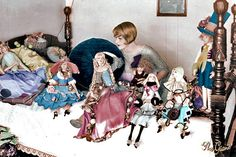 Claire Windsor with her dolls