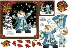Merry Christmas Jolly Snowman on Craftsuprint designed by Karen Wyeth - A fun quick card topper for Christmas with decoupage items, a matching smaller gift tag topper and extra embellishments. xk - Now available for download!