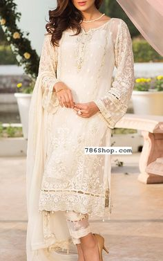 Off-white Chiffon Suit. Online Indian and Pakistani dresses, Buy Pakistani shalwar kameez dresses and indian clothing. Pakistani Dresses Online Shopping, Pakistani Party Wear Dresses, Pakistani Outfits, Online Dress Shopping, Indian Dresses, Indian Outfits, Pakistani Designer Suits, Pakistani Dress Design, Indian Designer Wear