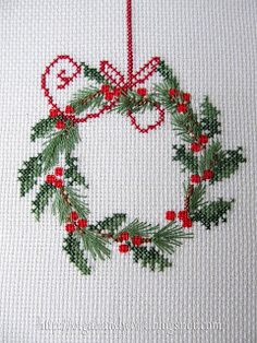 Wreath cross stitch.