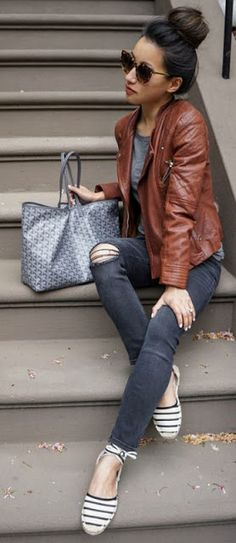 Fall fashion | Brown leather jacket, distressed pants and striped flats