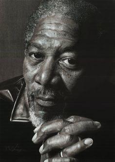 """Morgan Freeman"" - Mark (scratch12), 2012-2013 {contemporary artist #hyperreal male head man face portrait drawing} <3"