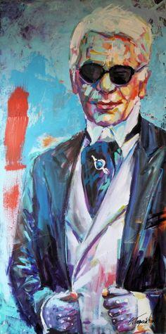 Karl Lagerfeld - Acryl auf leinwand 50 x 100 cm