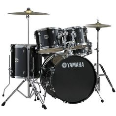 Yamaha Gigmaker Standard 5-pc. Drum Set with Hardware, Black Glitter (£710) ❤ liked on Polyvore featuring black glitter
