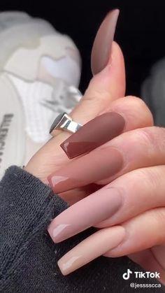 brown fall matte shiny long rectangle nails Acrylic Nails Coffin Short, Simple Acrylic Nails, Square Acrylic Nails, Pink Acrylic Nails, Coffin Nails, Acrylic Nails For Fall, Round Square Nails, Natural Looking Acrylic Nails, Acrylic Nails Kylie Jenner