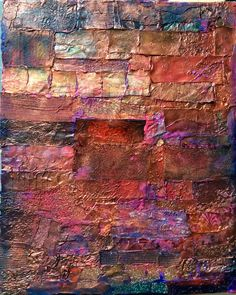 Lynda Bleyberg. For Sale . £250. Mixed media on box canvas. 12' by 9'. gold, and  copper metallic painted papers.