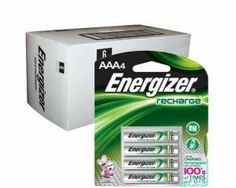 6 x 4pk Retail Card Energizer AAA Rechargeable Batteries NiMH 850mAh by Energizer. $72.95. Energizer® RechargeTM AAA batteries are great for use in your household devices such as digital cameras, toys, remote controls, wireless gaming accessories, GPS equipment, flashlights, and portable audio players. They're made with advanced nickel-metal hydride technology, which is environmentally friendly and recyclable.   Provides high power per charge for power-hungry d...