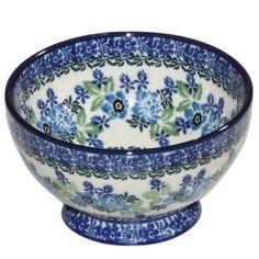 New Polish Pottery Small Pedestal Bowl Boleslawiec CA Pattern 1865 Stoneware | eBay
