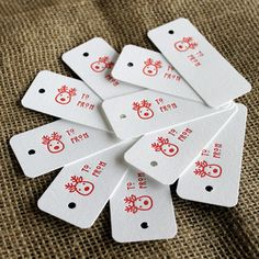 Red Reindeer Letterpress Gift Tags by Shortgrass Designs - modern - holiday decorations - by Etsy