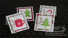 3x3 Christmas Note Cards by Corinne at Stamping with Roxy