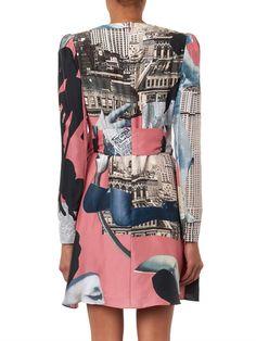 Carven Dada-print Habotai-silk dress