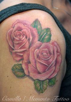 Pink roses on a shoulder. Feminine ink!