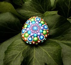 Hand Painted Dot Mandala Stone - 4cm diameter by StripeyCatsStudio on Etsy