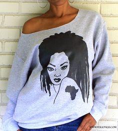 """www.cewax.fr aime Image of The """"Locs Dawta"""" Off the Shoulder Sweatshirt in Heather Grey $32.99!!"""