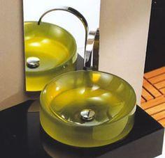 Regia Rotero 847643, glass basins in various colours. 43cm dia X 10cm h