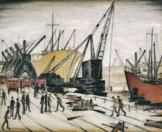 Laurence Stephen Lowry - Cranes and Ships, Glasgow Docks, 1947 Salford, Riverside Museum, Glasgow Museum, Boat Art, Spencer, Urban Industrial, English Artists, Famous Artists, British Artists